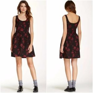 BB Dakota Black Red Floral Print Sleeveless Dress